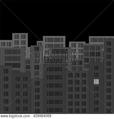 Modern Night City Skyline. Gray Cityscape With Silhouettes Of Houses And One Luminous Window. Tall H