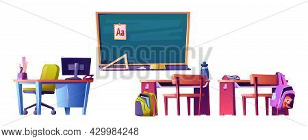 Blackboard With Abc Material, Teacher Table With Personal Computer And Kids Desks With Satchels On C