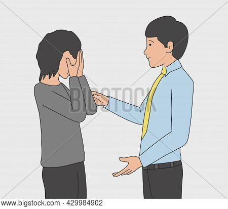Man And Crying Girl. A Man Soothes A Woman In A Depressed Mood. Upset Girl. Friendly Support Concept