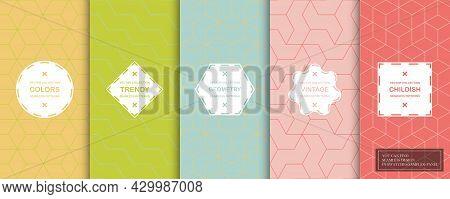Set Of Colorful Geometric Seamless Ornamental Patterns - Symmetric Textures. Vector Repeatable Orien