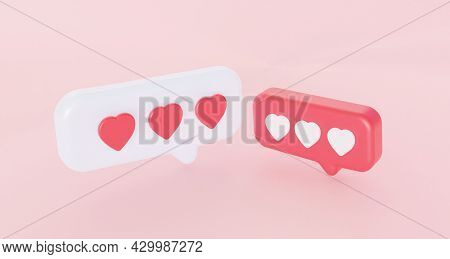 Speech Bubble Hearts Dialog. The Concept Of Communication In Chats Of Romantic Correspondence.