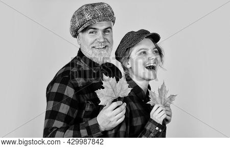 Nature Lovers. Farmer In Countryside Collect Fallen Leaves. Fall Seasonal Concept. Autumn Harvest Wi