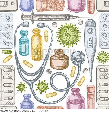 Seamless Pattern With Hand Drawn Pastel Vial Of Blood, Pills And Medicines, Medical Thermometer, Cor