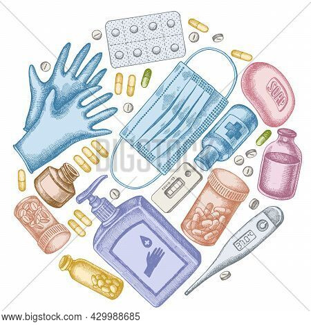 Round Design With Pastel Pills And Medicines, Medical Face Mask, Sanitizer Bottles, Medical Thermome