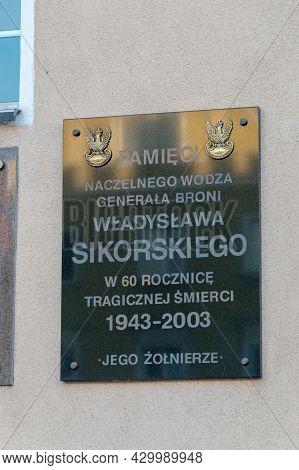 Opole, Poland - June 4, 2021: Plaque Commemorating Wladyslaw Sikorski.