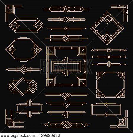Vintage Art Deco Frames. Arts Element, Geometric Artful Frame. Border Graphics Design, Ornamental Di