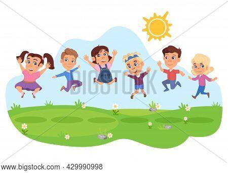 Kids Jumping. Happy Diverse Children Jump, Summer Activities. Kid Friendship, Cartoon School Child P