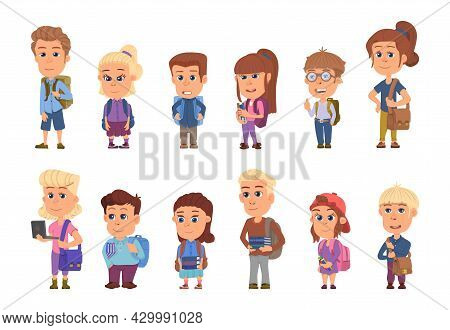 School Student Characters. Students With Books And Backpacks, Cartoon Children. Isolated Girl Boy Te