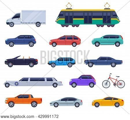 City Transport Flat Icons. Auto Cabrio, Car Bus Objects Design. Isolated Smart Vehicles, Truck, Tram