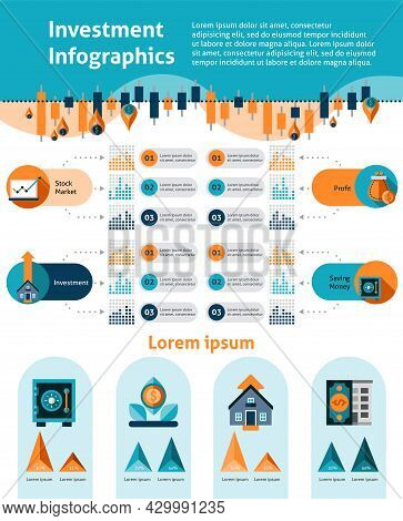 Investment Infographics Set With Financial Analytics Symbols And Infocharts Vector Illustration