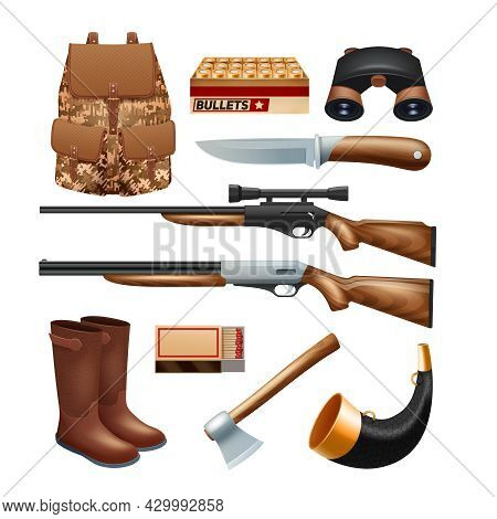 Hunting Tackle And Equipment Icons Set With Rifles Knives And Survival Kit Isolated Vector Illustrat