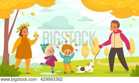 Autumn Park Family. Parents With Children Walk With Dog Outdoor Activity, People And Pet, Mom And Da