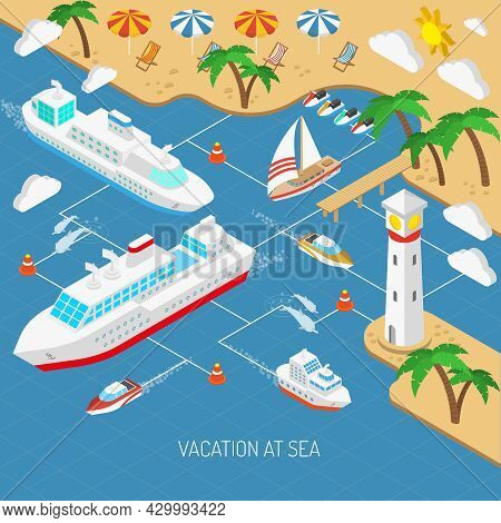 Sea Vacation And Ships With Beach Umbrellas Chaise Lounges And Palms Isometric Concept Vector Illust