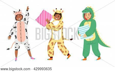 Kids Animal Pajamas. Smiling Boys And Girls In Overalls. Cow, Giraffe And Dragon Funny Costumes, Clo