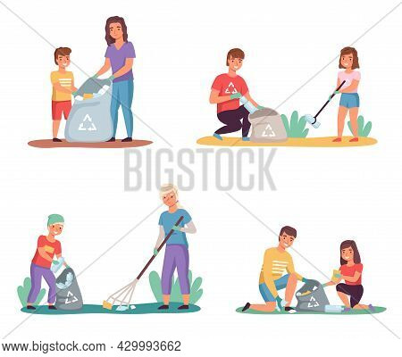 Kids With Parents Sort Garbage. Clean Up Trash Outdoor, Lay Out Color Containers, Nature Caring, Env