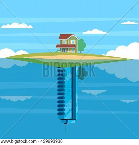 Alternative Housing. Cottage Or Skyscraper. Landscape With Small Suburb House And Multi-story Downto