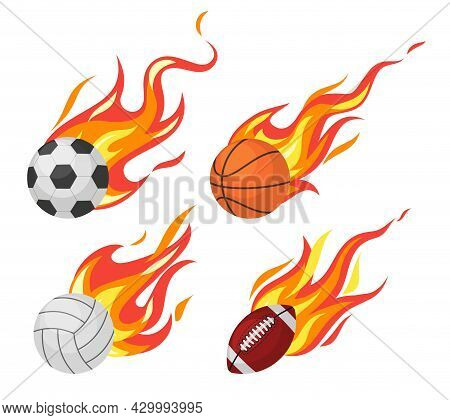 Burning Balls. Football And Volleyball, Basketball And Rugby Flying Sport Fireball, Game Objects In