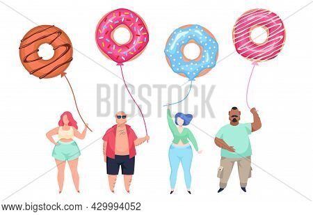 Fat Guys With Doughnut Balls. Overweight Men And Women Standing In Row, Unhealthy Food Habits. Body