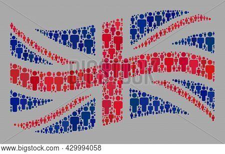 Mosaic Waving Great Britain Flag Constructed With People Icons. Vector People Mosaic Waving Great Br
