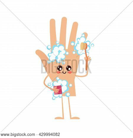 Hand Washes Arm. Human Body Part Cleaning Itself With Soap Foam And Brush. Hygiene Mascot. Isolated