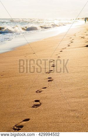 Footprints On Golden Sand By The Sea In The Sun