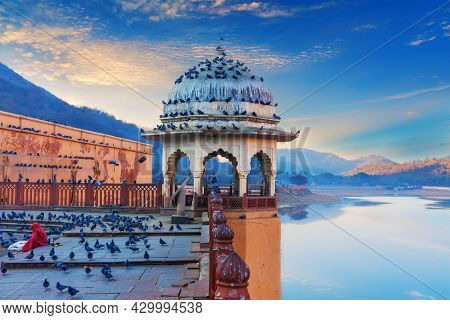 Amber Fort Elements, View On The Maotha Lake Near Jaipur, Rajasthan, India.