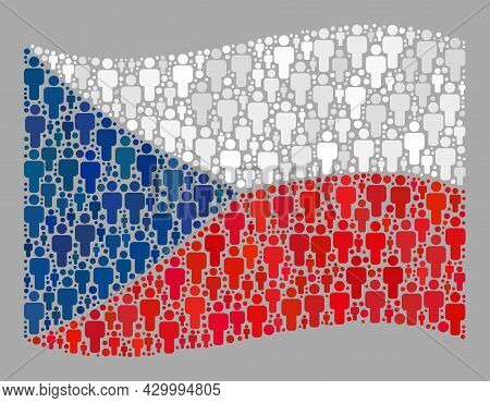 Mosaic Waving Czech Flag Designed Of Crowd Items. Vector Crowd Mosaic Waving Czech Flag Constructed