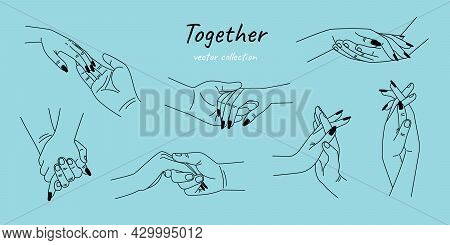Relationship Loving Hands Together. Woman And Man Romantic Handshakes Line Tattoo Sketch Art Works,