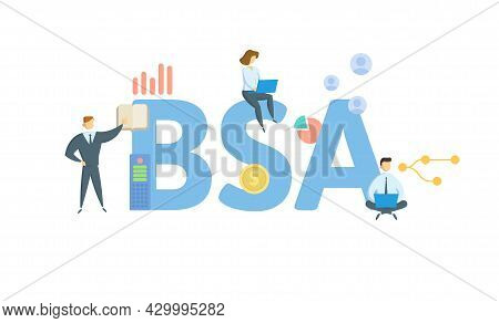 Bsa, Bank Secrecy Act. Concept With Keyword, People And Icons. Flat Vector Illustration. Isolated On