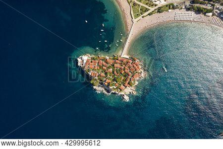 Aerial View At Sveti Stefan Islet In Montenegro