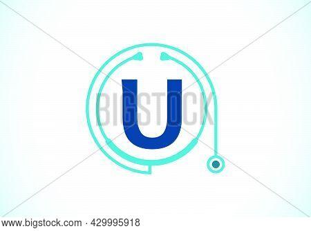 Initial U Monogram Alphabet With Doctor Stethoscope. Vector Stethoscope Logo Or Icon. Logo For Medic