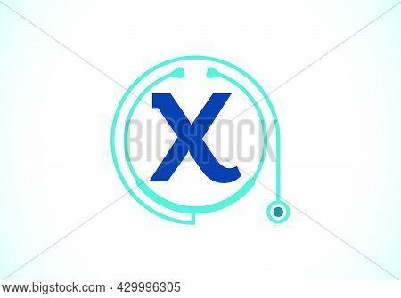 Initial X Monogram Alphabet With Doctor Stethoscope. Vector Stethoscope Logo Or Icon. Logo For Medic