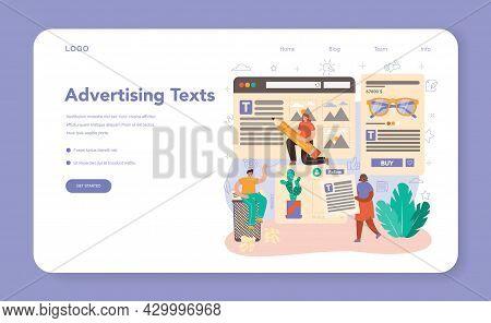Copywriter Web Banner Or Landing Page. Writing And Designing Texts