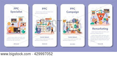 Ppc Specialist Mobile Application Banner Set. Pay Per Click Manager