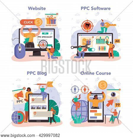 Ppc Specialist Online Service Or Platform Set. Pay Per Click Manager