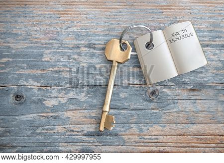 Keyring With Open Book Key To Knowledge