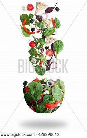 Fresh Salad Ingredients In A Bowl Shape Hovering In Mid Air