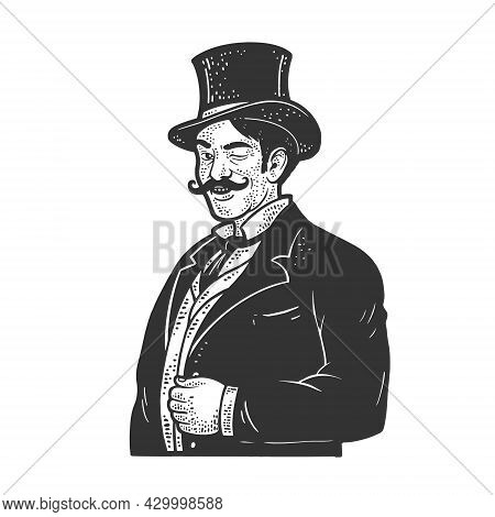 Gentleman Winking Old Fashioned Sketch Engraving Vector Illustration. T-shirt Apparel Print Design.
