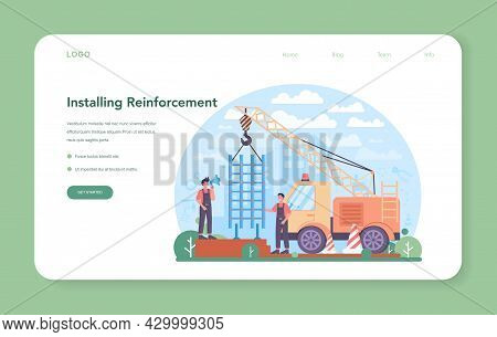 Fitter Installing A Reinforcement Web Banner Or Landing Page. Industrial Builder