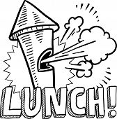 Doodle style lunch break illustration in vector format. Includes text and blowing whistle. poster