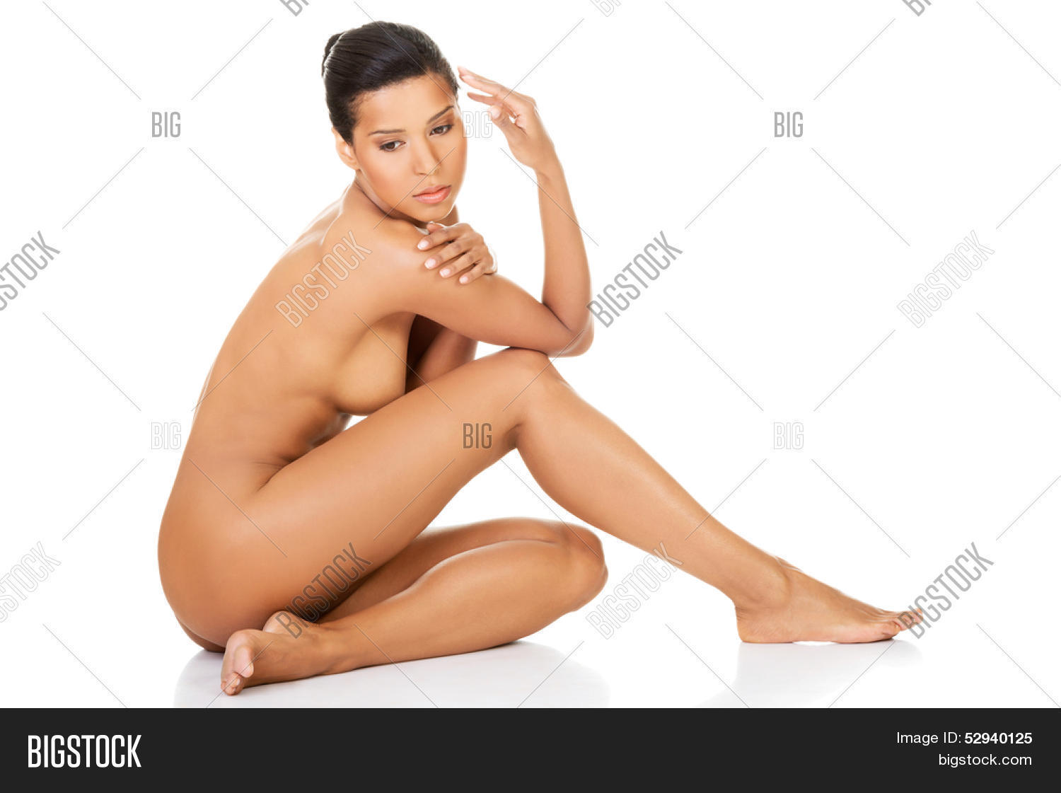 beautiful naked woman sitting. side image & photo | bigstock