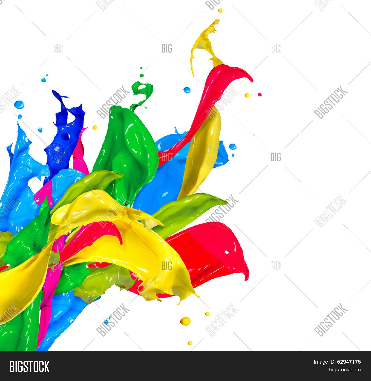 Colorful Paint Splash Isolated On Image Photo