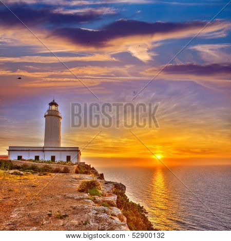 La Mola Cape Lighthouse Formentera at sunrise in Balearic Islands