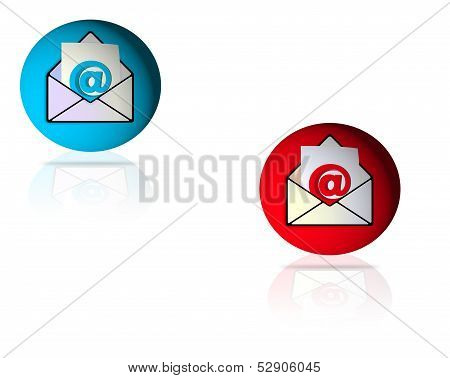 Glossy Red and Blue email icon