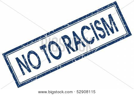 No To Racism Square Blue Grunge Stamp
