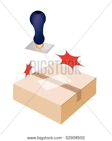 Rubber Stamp With A Brown Cardboard Box