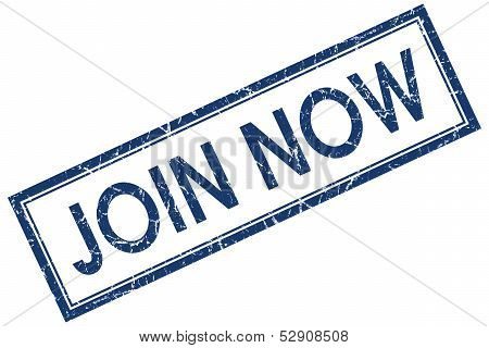 Join Now Square Blue Grunge Stamp