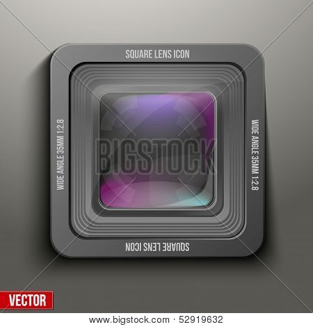 The square icon photo or video lens