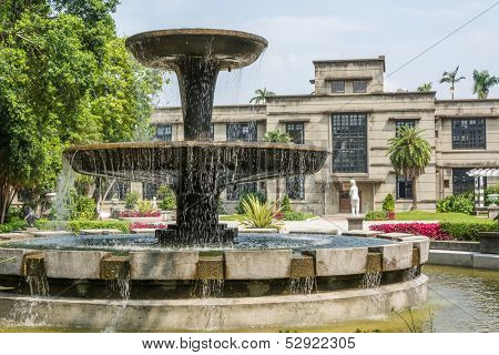 Fountain multi-tiered outdoors in Taipei, Taiwan, Asia.