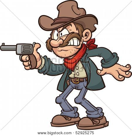 Cartoon gunslinger cowboy. Vector clip art illustration with simple gradients. All in a single layer.